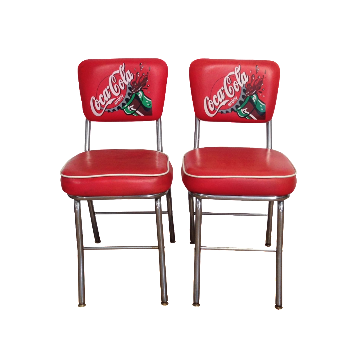 Coca Cola Red Vinyl Cafe Chairs A Pair