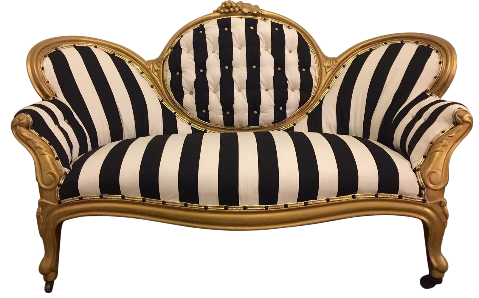 Antique Victorian Settee In Black amp White Stripe Chairish