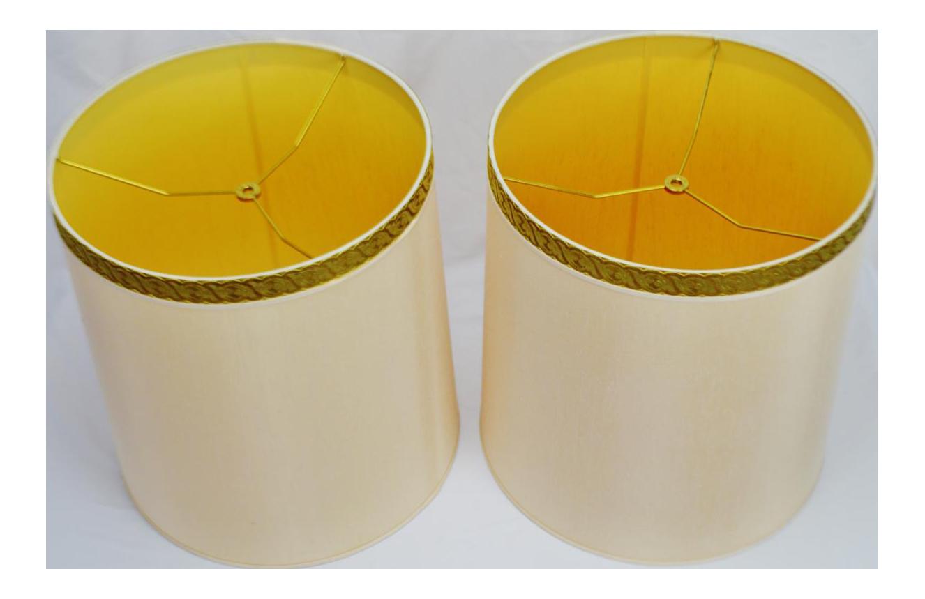 image of vintage 1950u0027s hollywood regency stiffel drum lamp shades a pair
