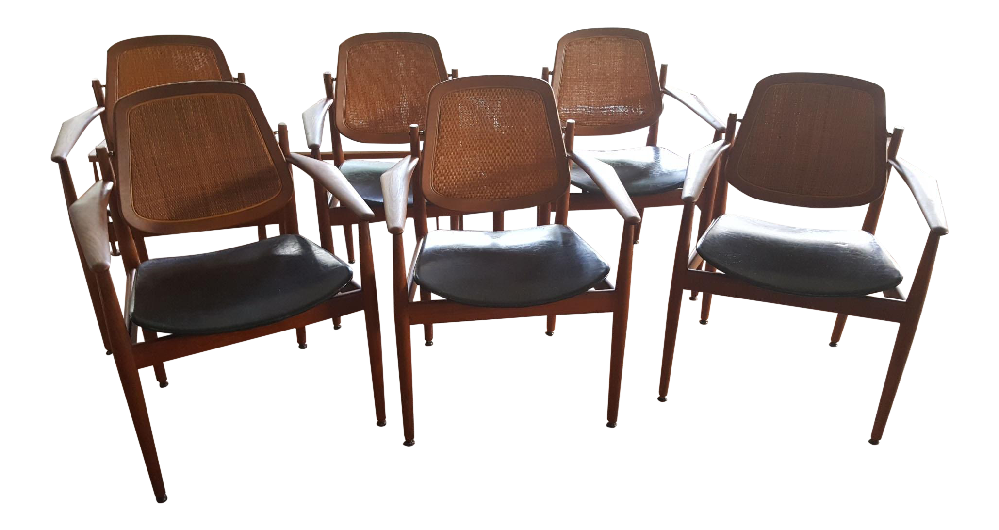 Arne Vodder Teak & Cane Dining Chairs Set of 6