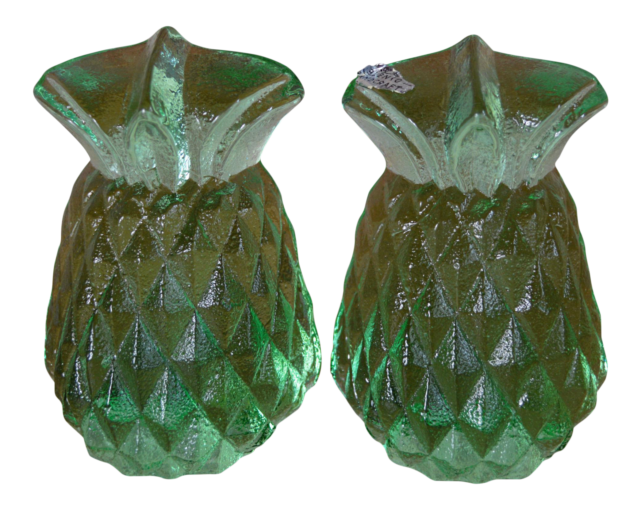 Blenko Green Glass Pineapple Bookends- A Pair | Chairish
