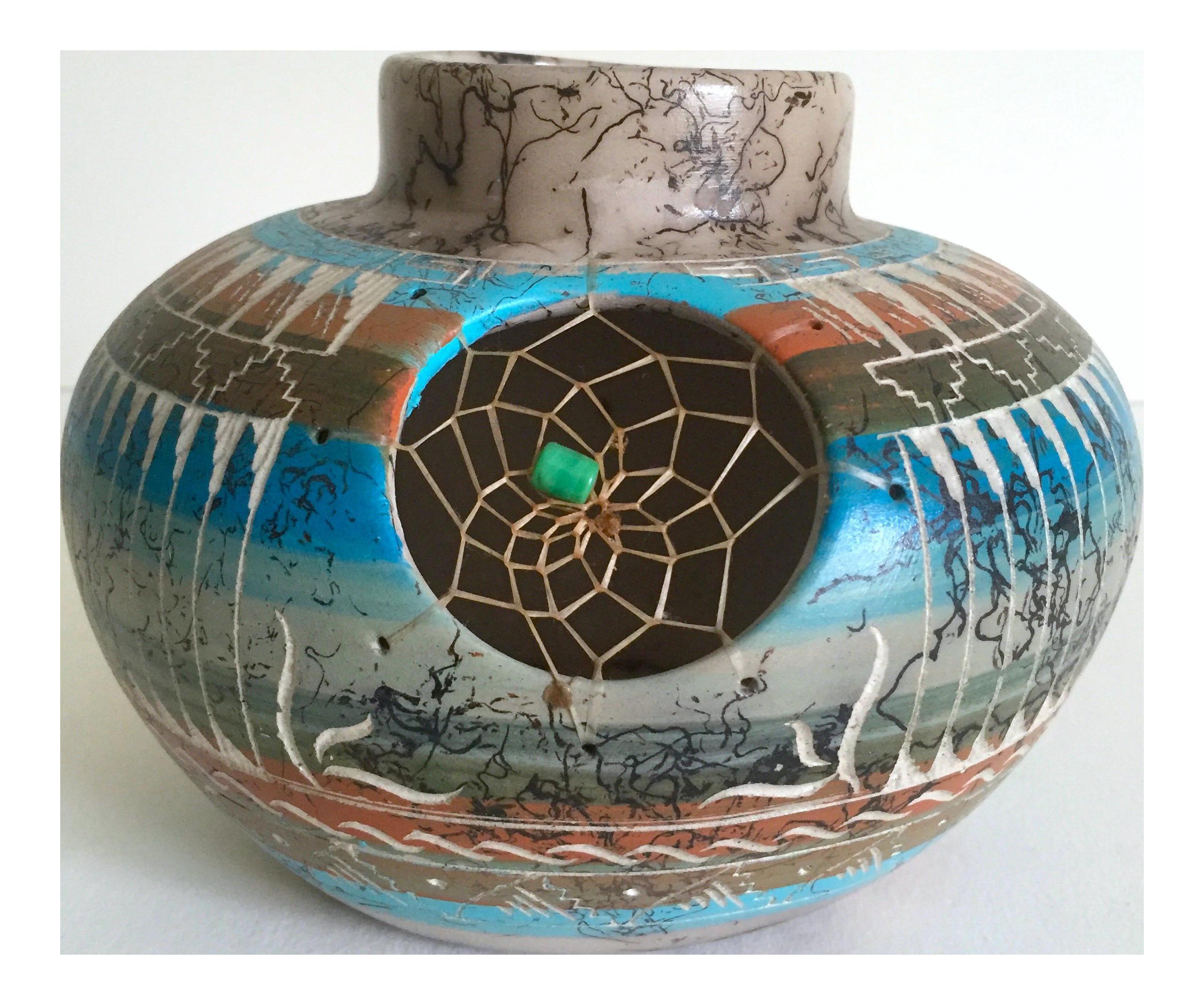 Vintage Navajo Native American Mystic Dreamcatcher Pottery Vessel