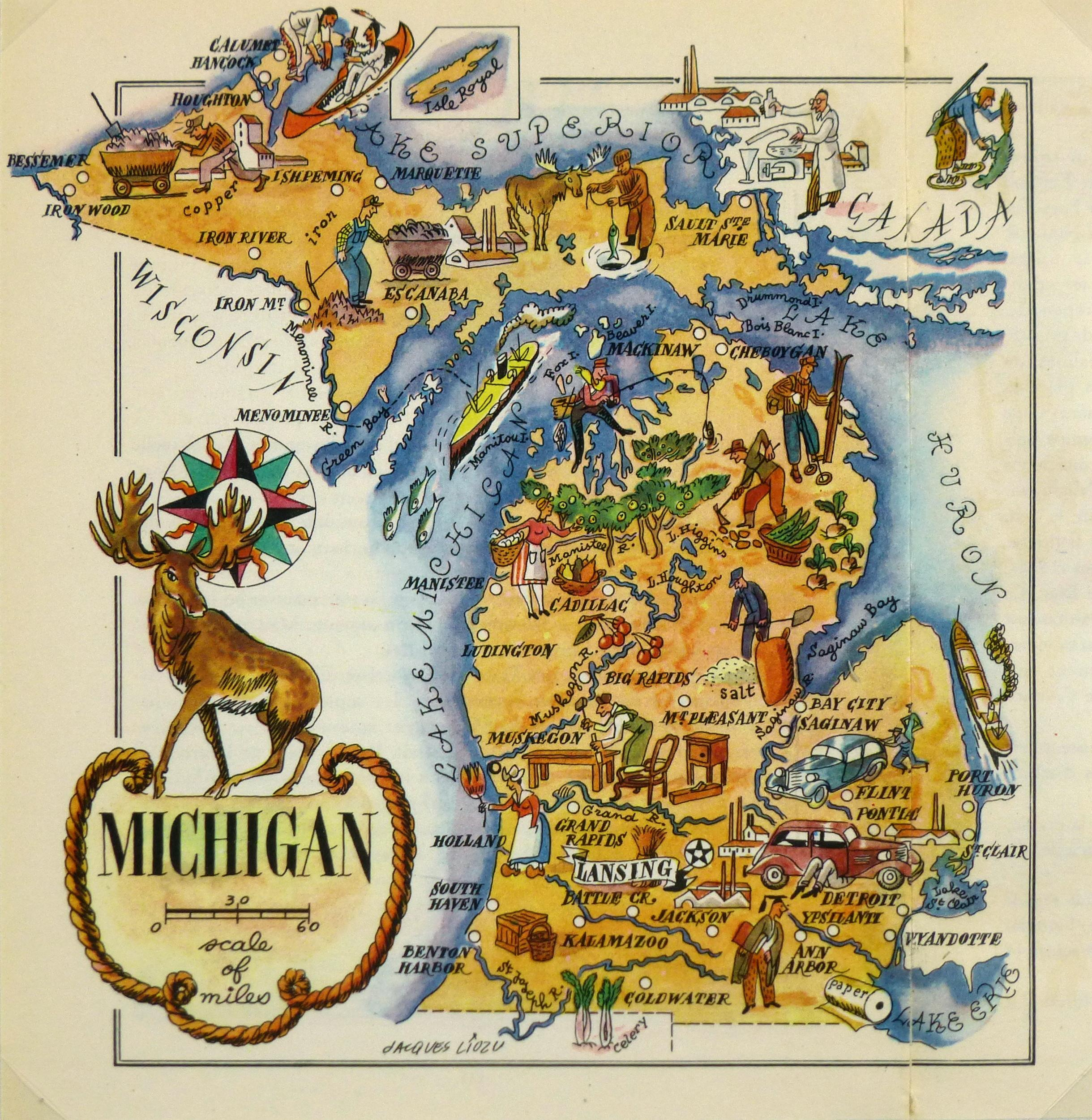 Vintage 1946 Michigan Pictorial Map Chairish