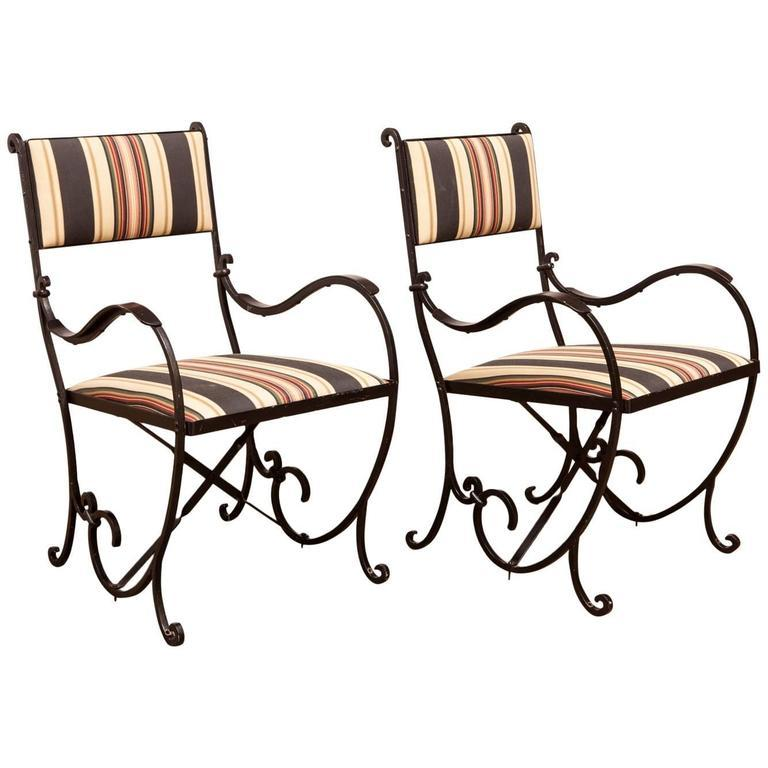 French art deco wrought iron cafe chairs a pair chairish for Wrought iron cafe chairs