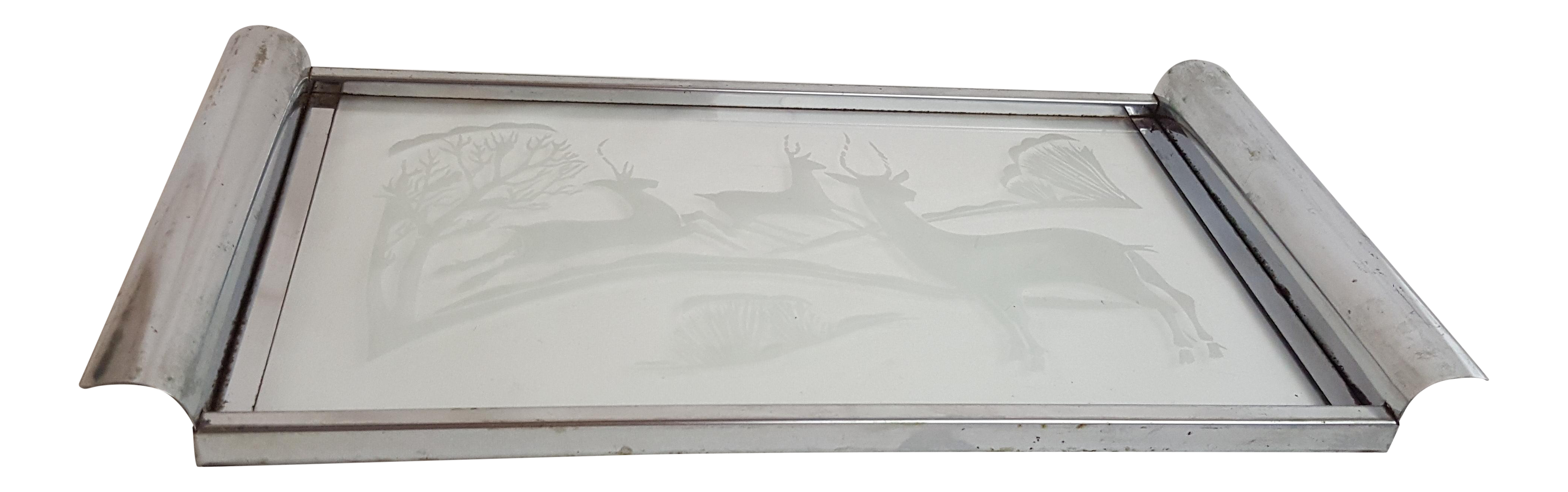 Mid Century Chrome and Etched Glass Tray