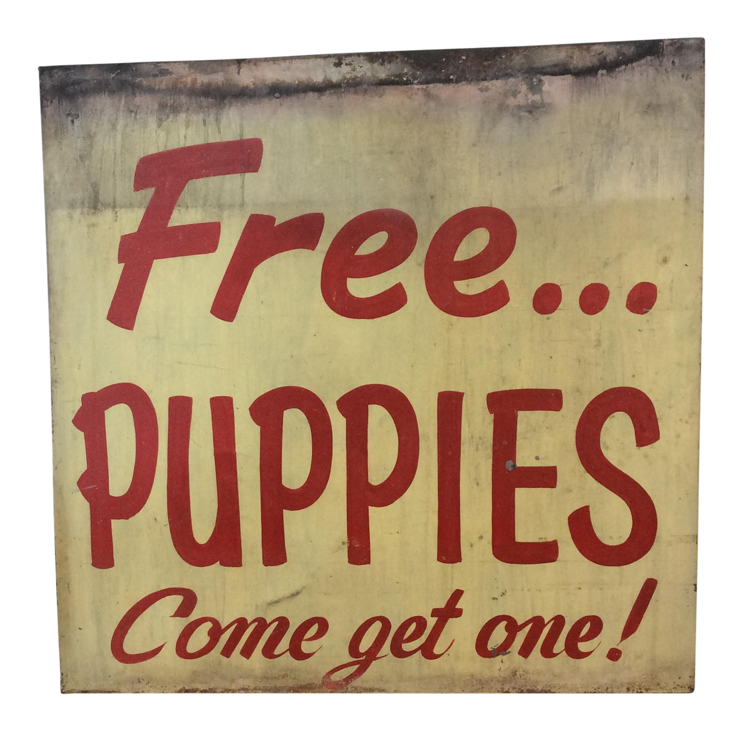 Vintage Quot Free Puppies Quot Hand Painted Metal Sign Chairish