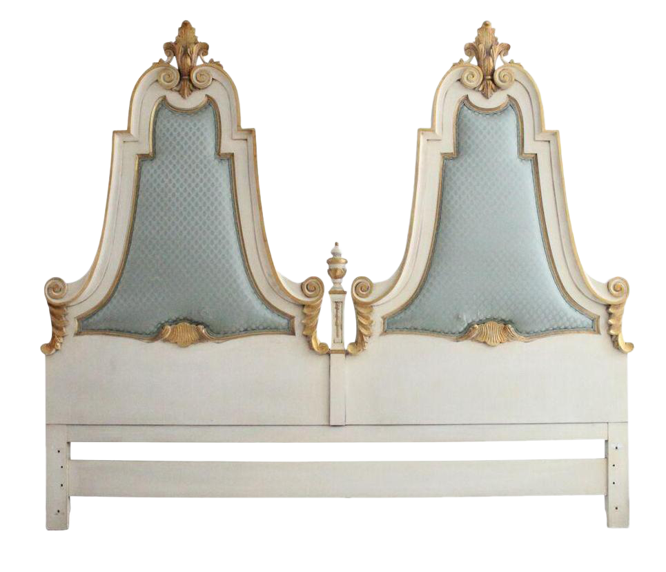 Victorian king storage beds with drawers - French Cream Gold Gilt Kingsize Headboard