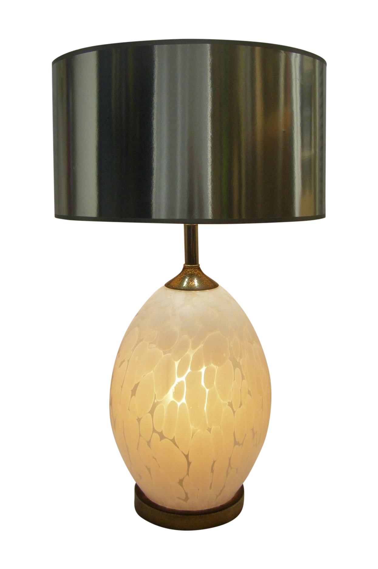 Mid Century Modern Italian Glass White Murano Table Lamp