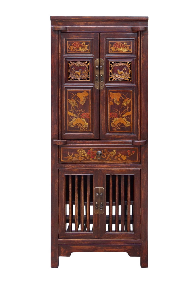 Asian carved elm wood cabinet chairish for Carved kitchen cabinets