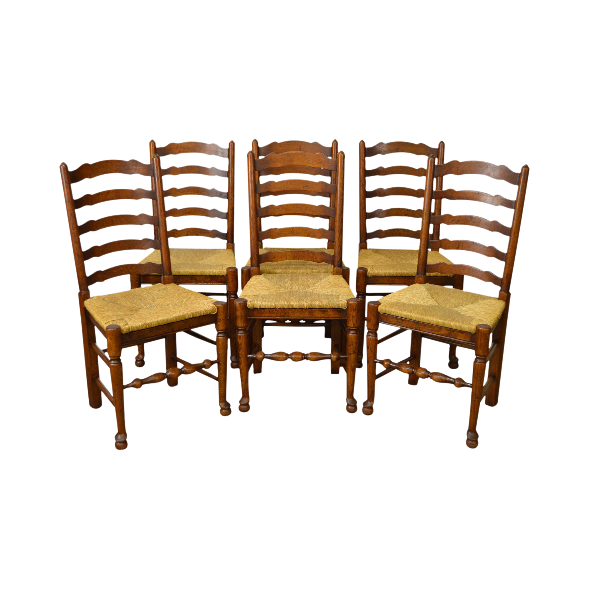 French Country Style Set of 6 Antique Ladder Back Rush Seat Dining