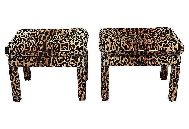 Vintage Leopard Tufted Ottomans Pair Chairish