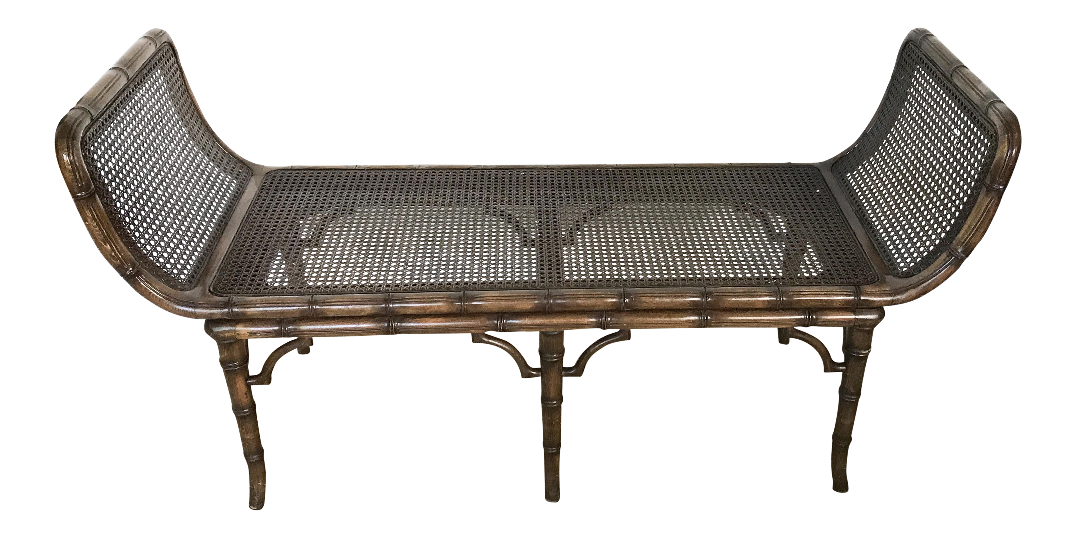 Chinese Chippendale Faux Bamboo & Cane Bench