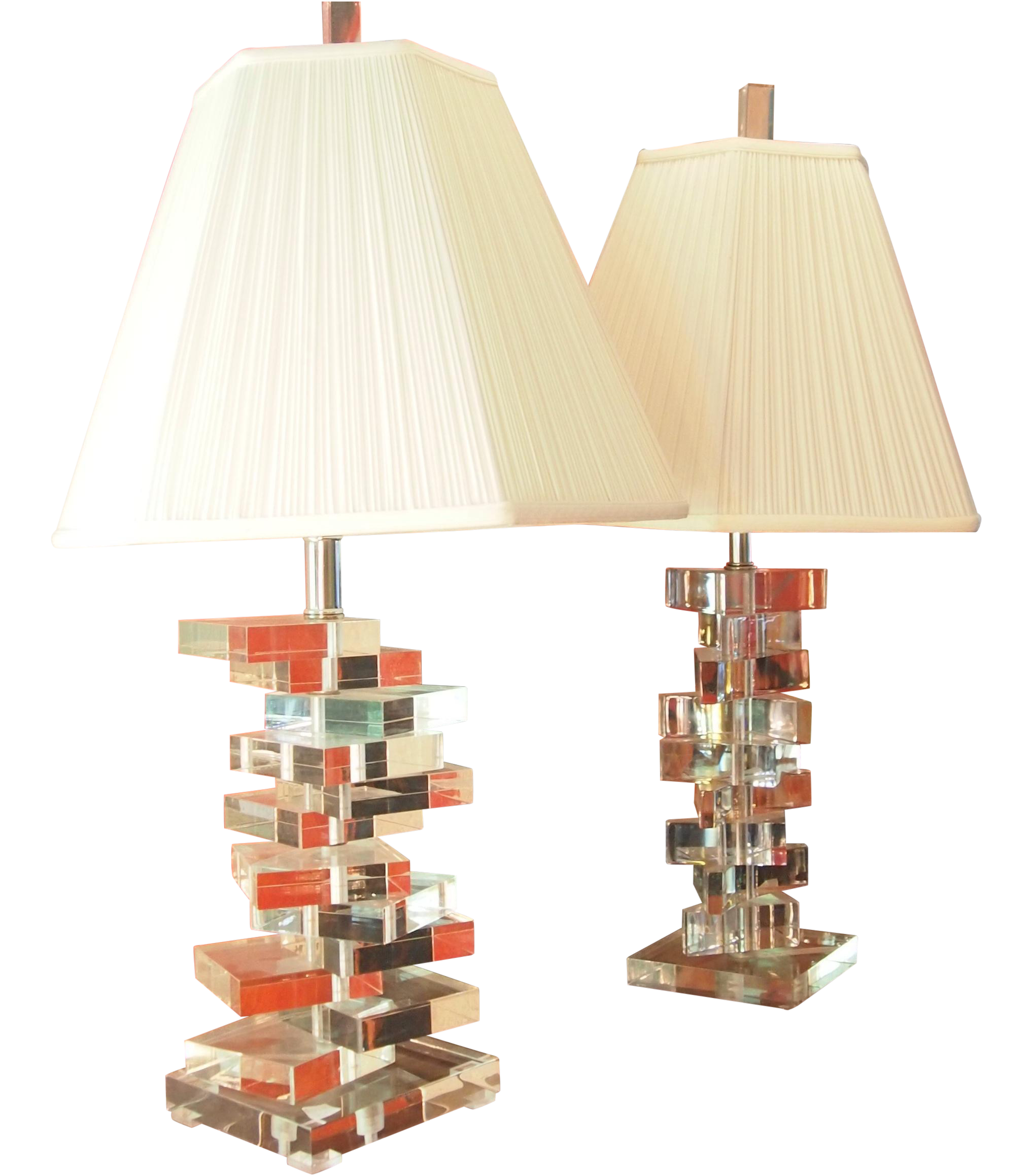 Clearlite By Bauer Stacked Lucite Lamps A Pair Chairish