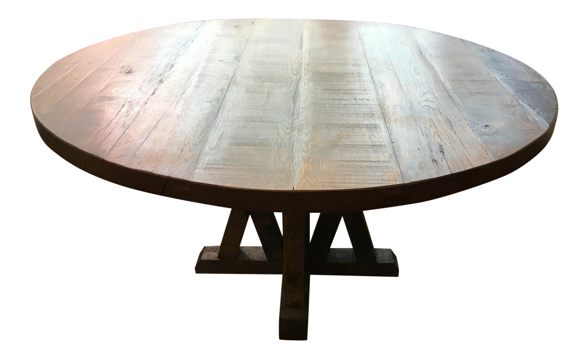 Reclaimed Round Wood Table Chairish