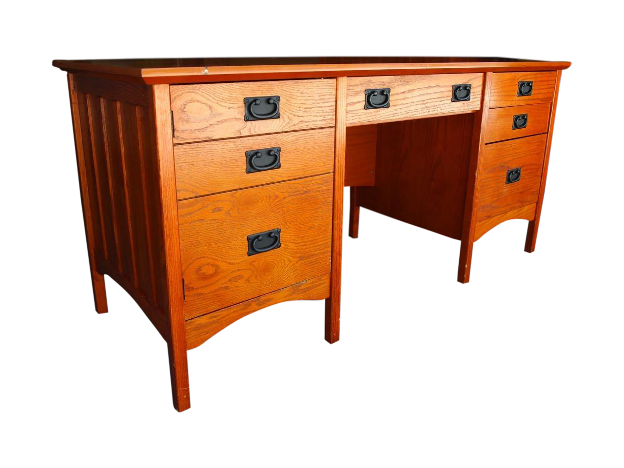 Contemporary craftsman mission style desk chairish for Craftsman style desk plans