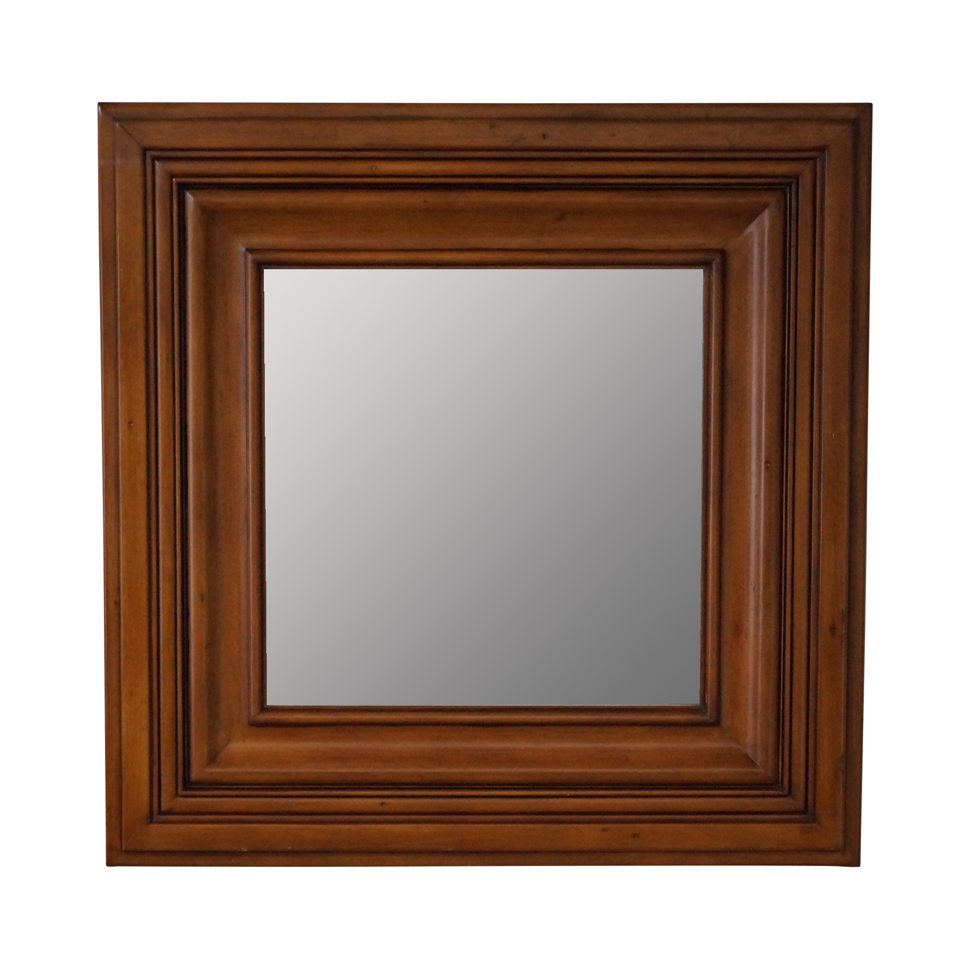 Square Wood Frame Beveled Wall Mirror | Chairish