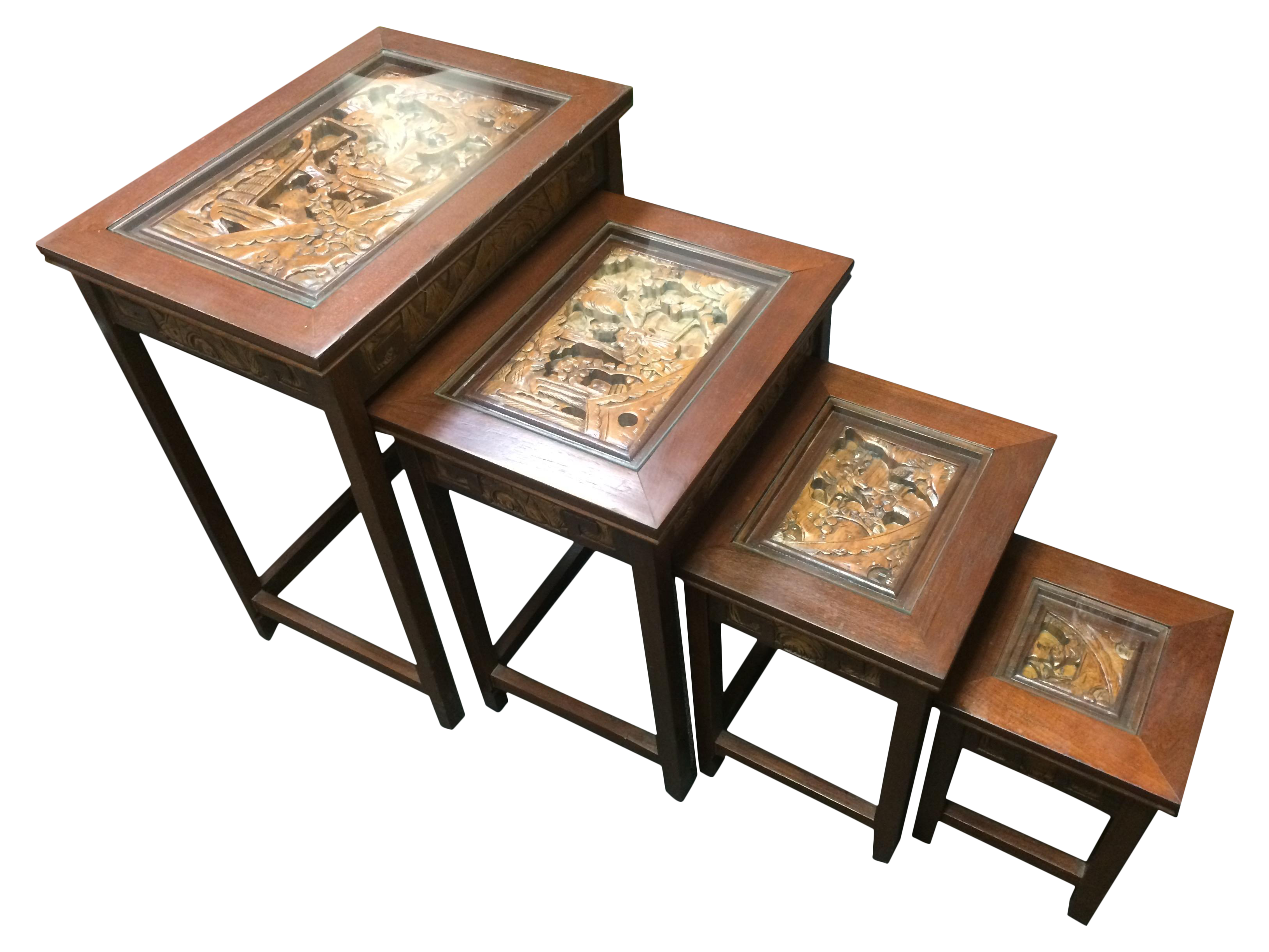 Asian Hand Carved Nesting Tables Set of 4