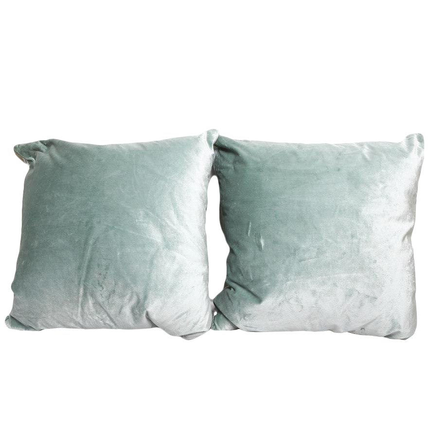 Blue Down Throw Pillows : Designer Tiffany Blue Velvet Down Throw Pillows - Set of 2 Chairish