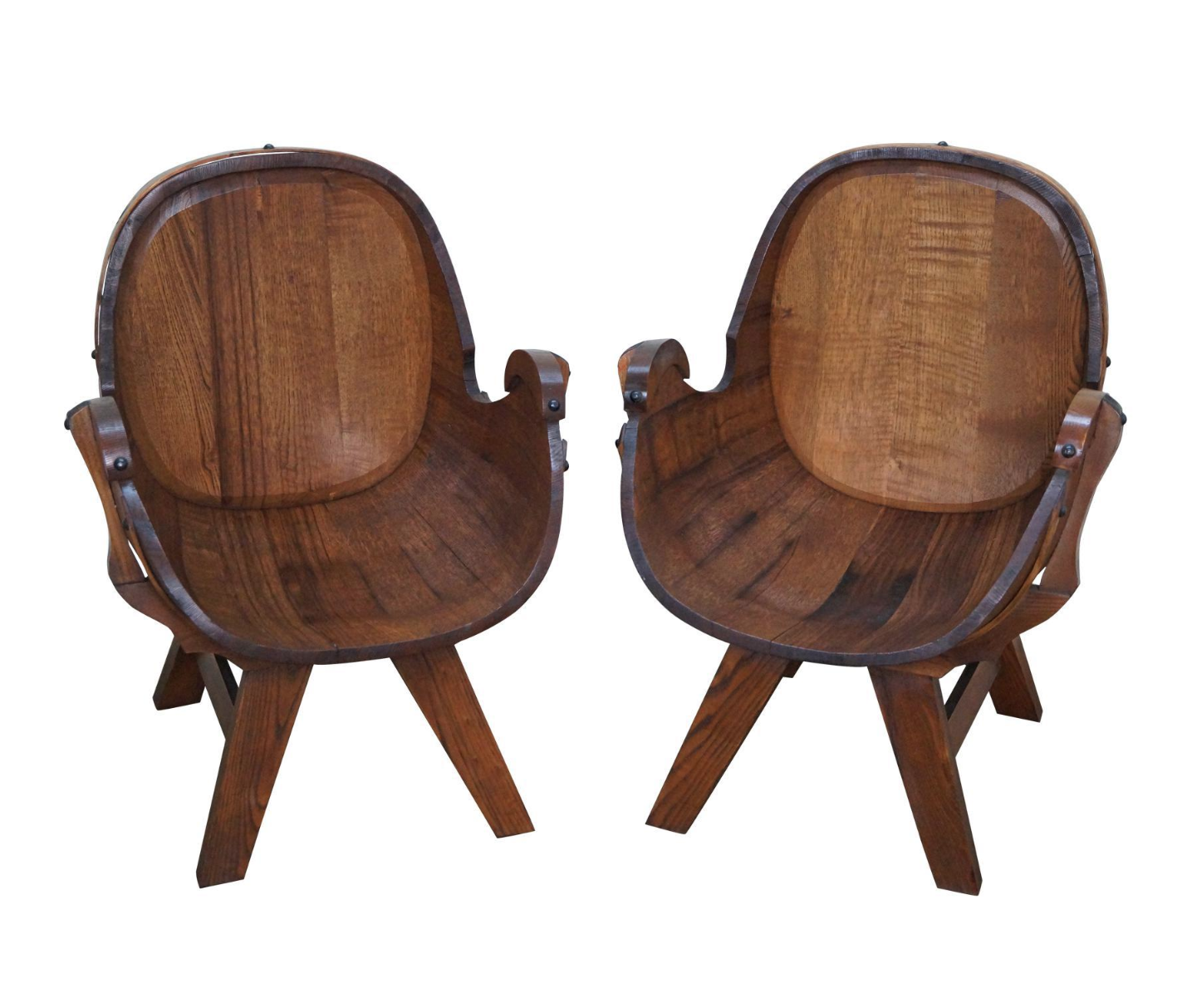 Vintage Oak Barrel Lounge Chairs A Pair