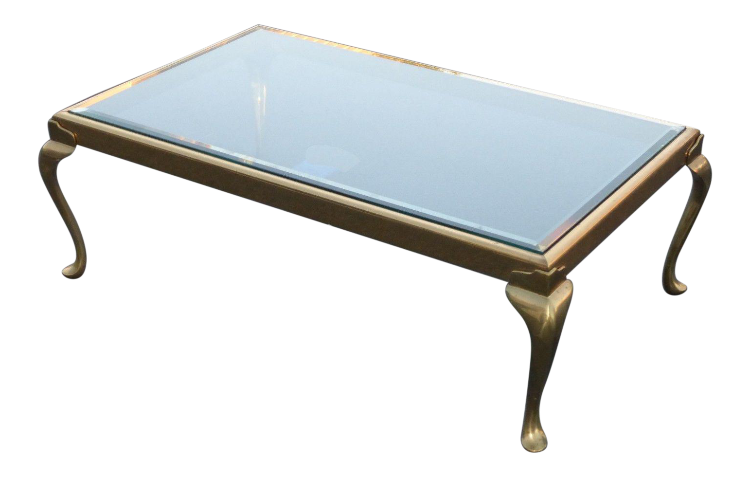 vintage brass coffee table with queen anne legs | chairish