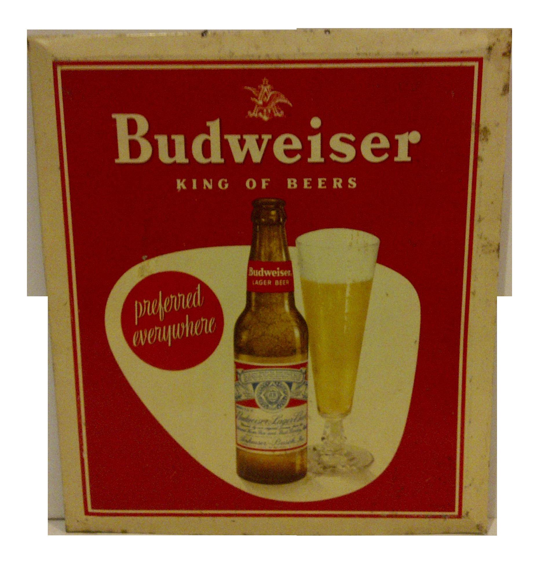 Vintage Tin Budweiser Beer Sign Circa 1940 Chairish