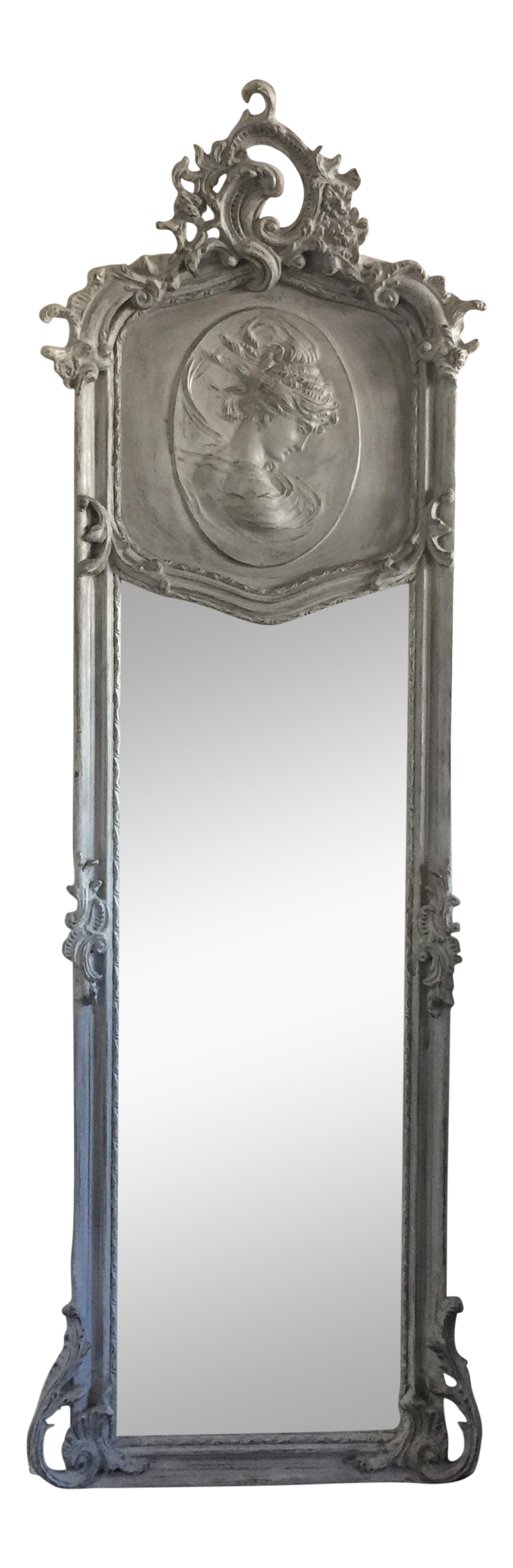 Grey relief beveled floor mirror chairish for Gray full length mirror