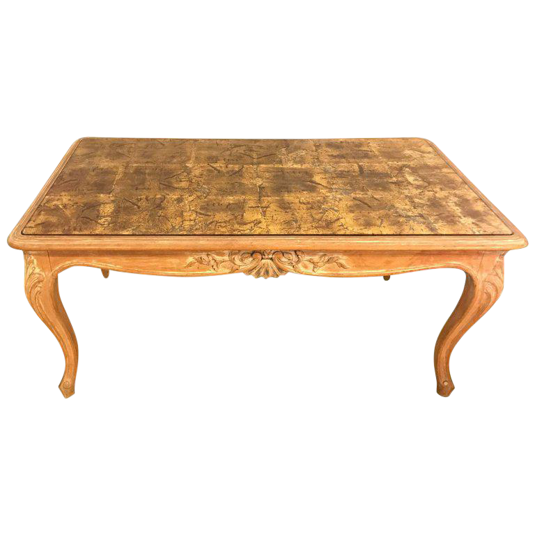 Louis Xv Style White Washed Coffee Table With Decorated Glass Top Chairish
