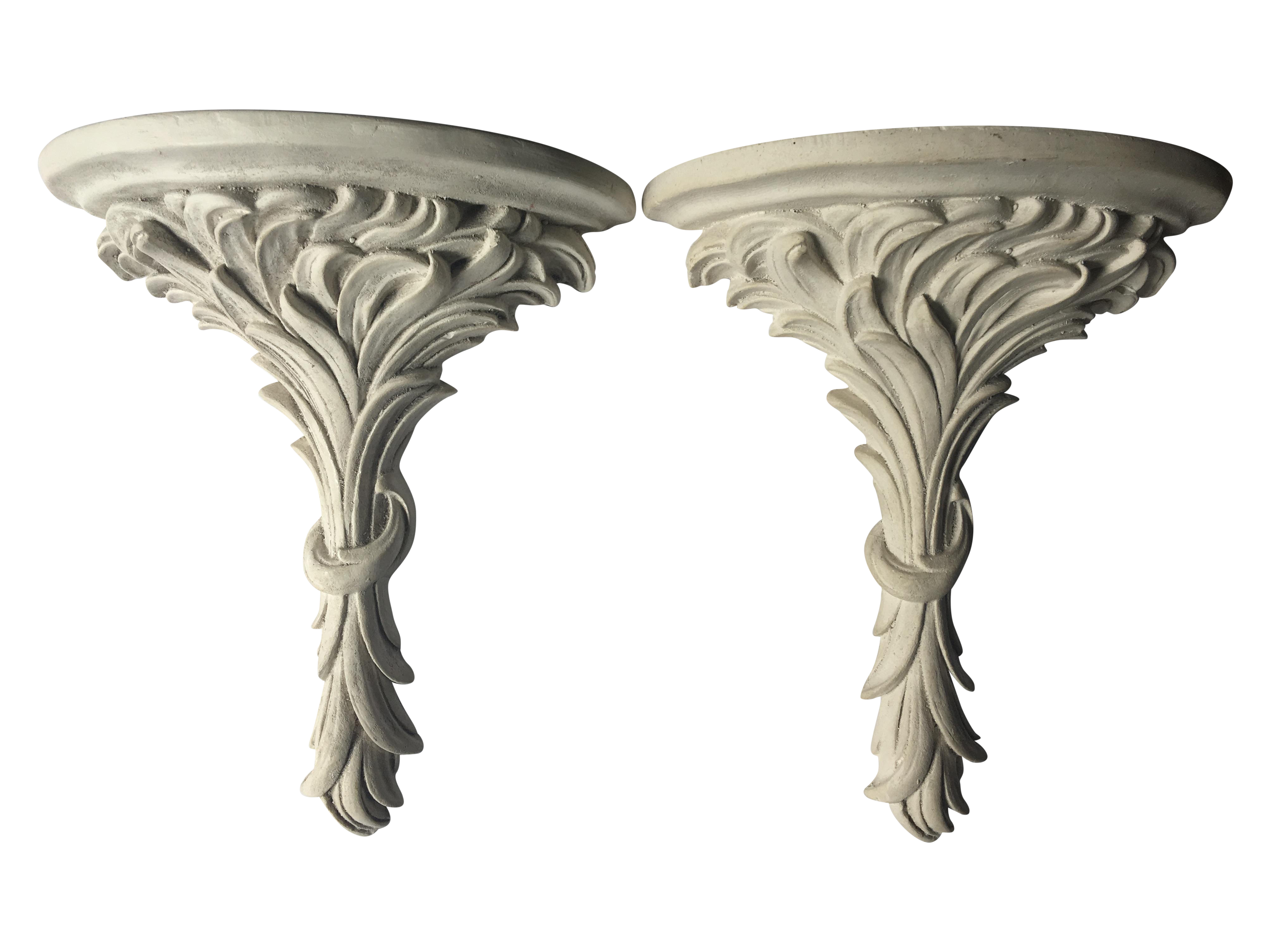White rococo wall sconce shelves a pair chairish amipublicfo Gallery