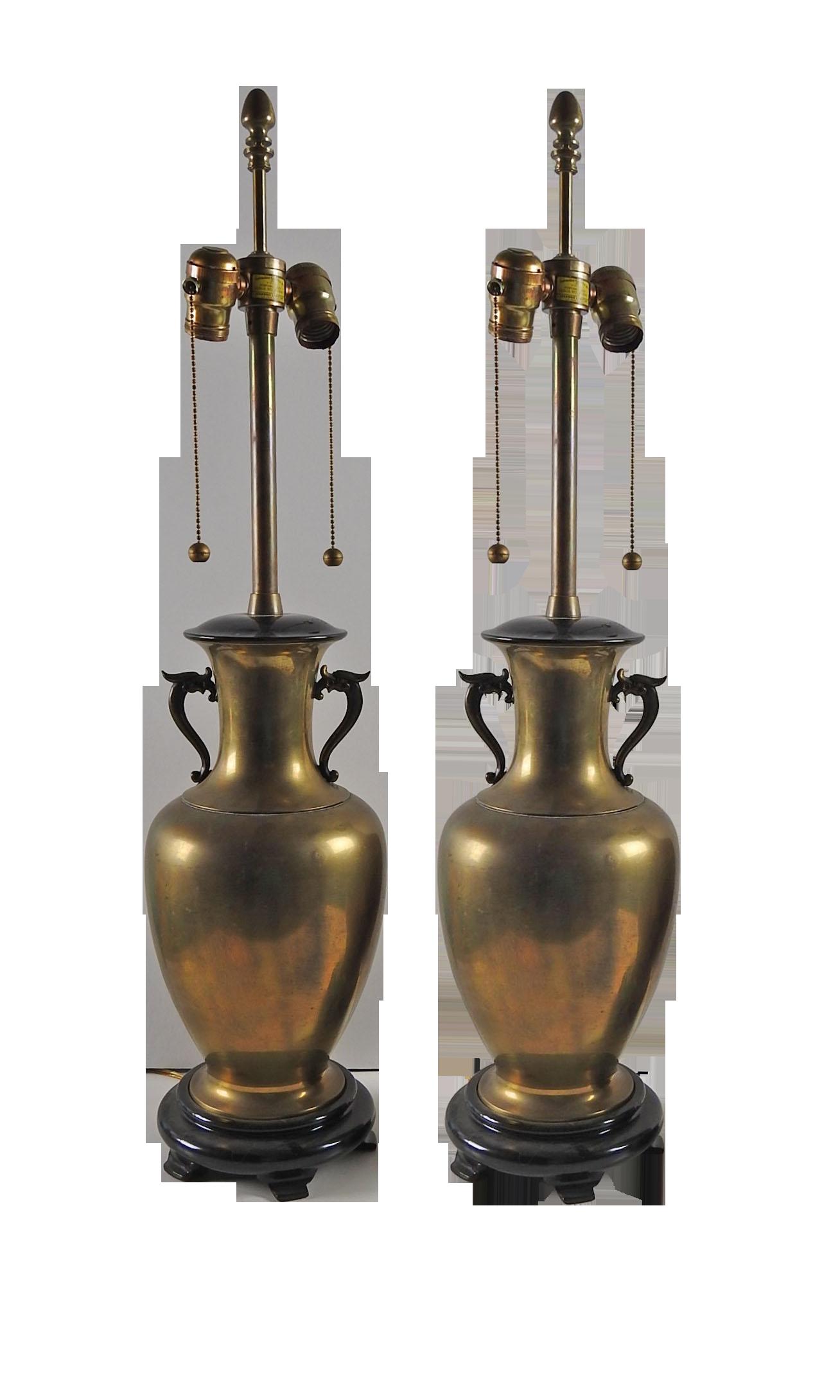 Vintage Dragon Marbro Brass Urn Lamp Pair Chairish