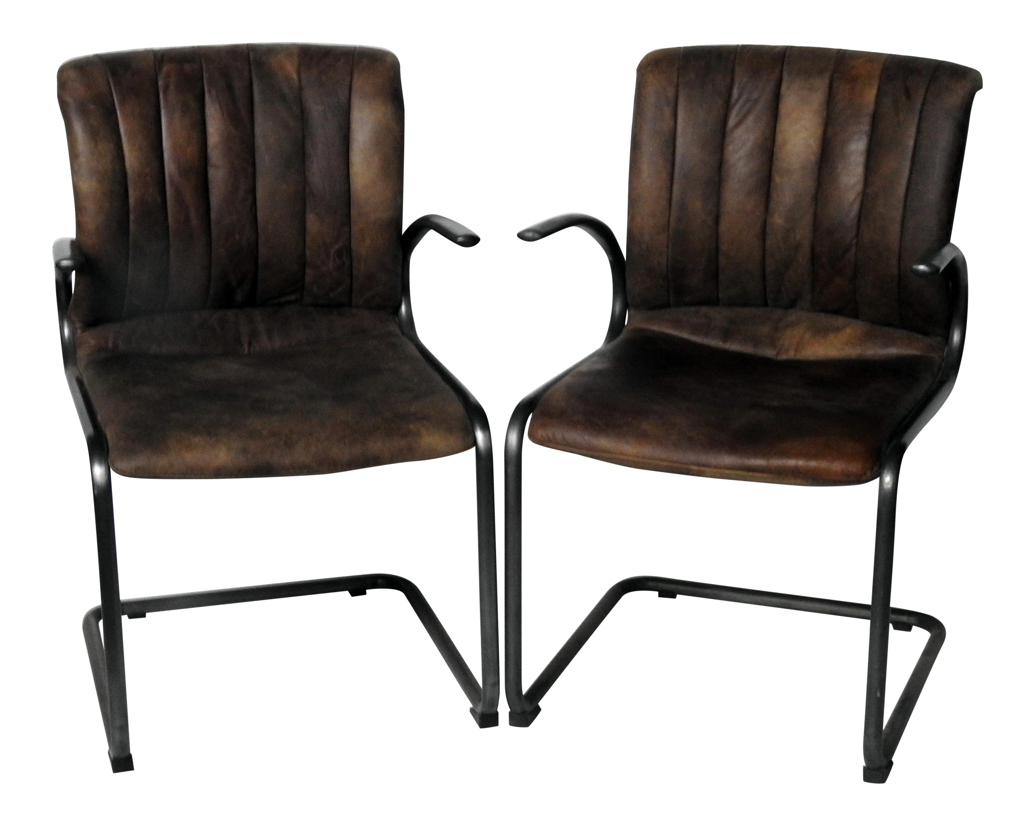 Industrial style arm chairs a pair chairish