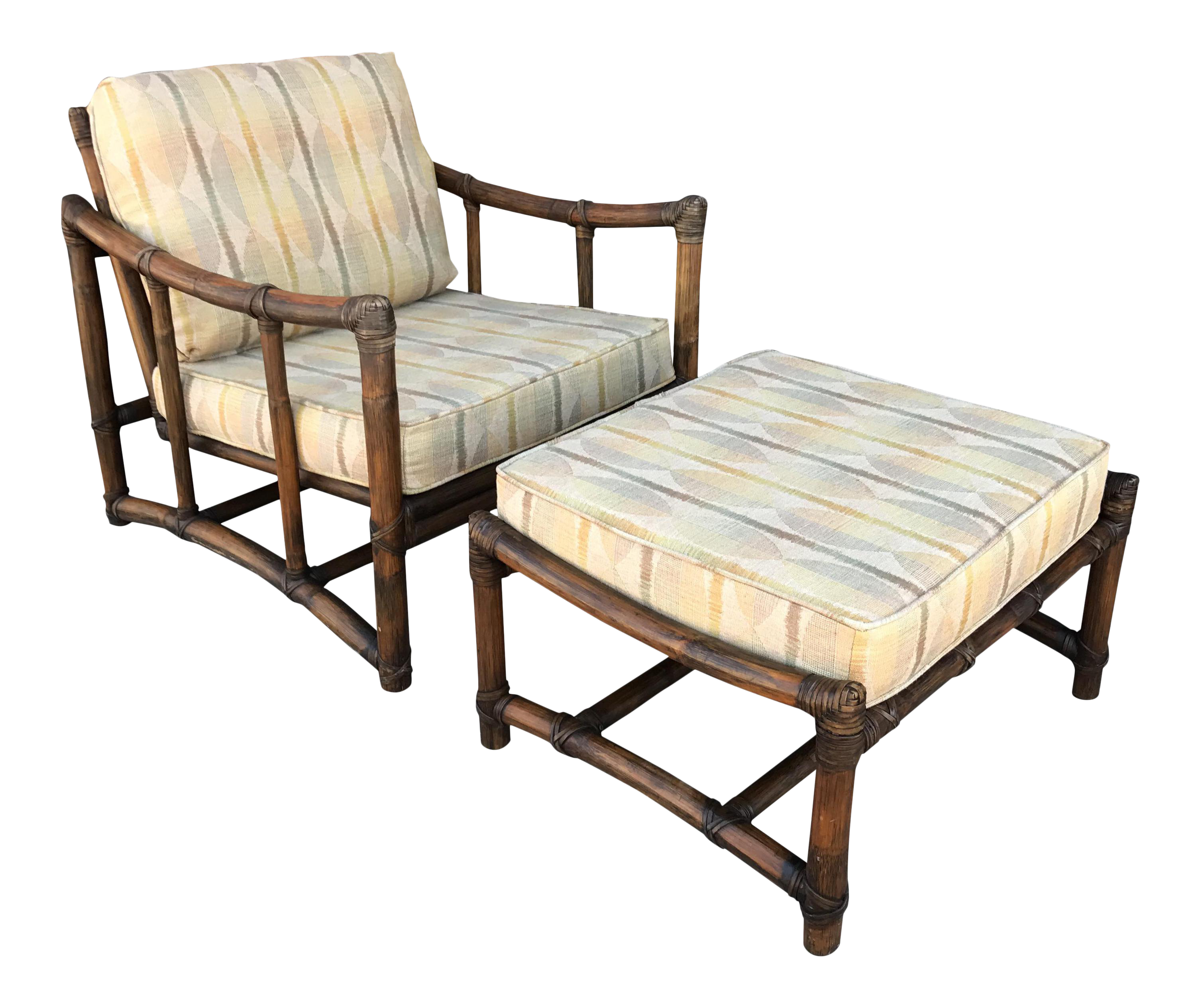 Vintage Mcguire Bamboo And Linen Upholstered Lounge Chair