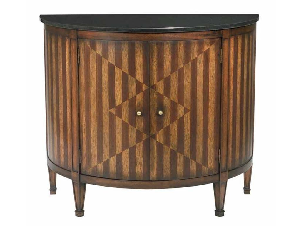 Continental demilune cabinet console table chairish - Sofa table with cabinets ...