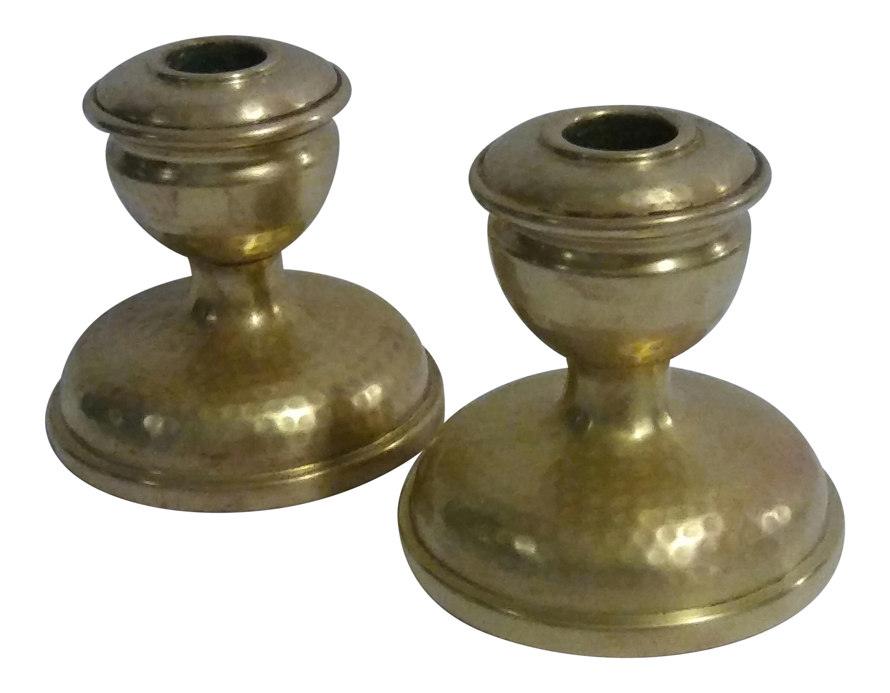 Antique brass arts crafts candle holders a pair chairish for Arts and crafts candle sconces