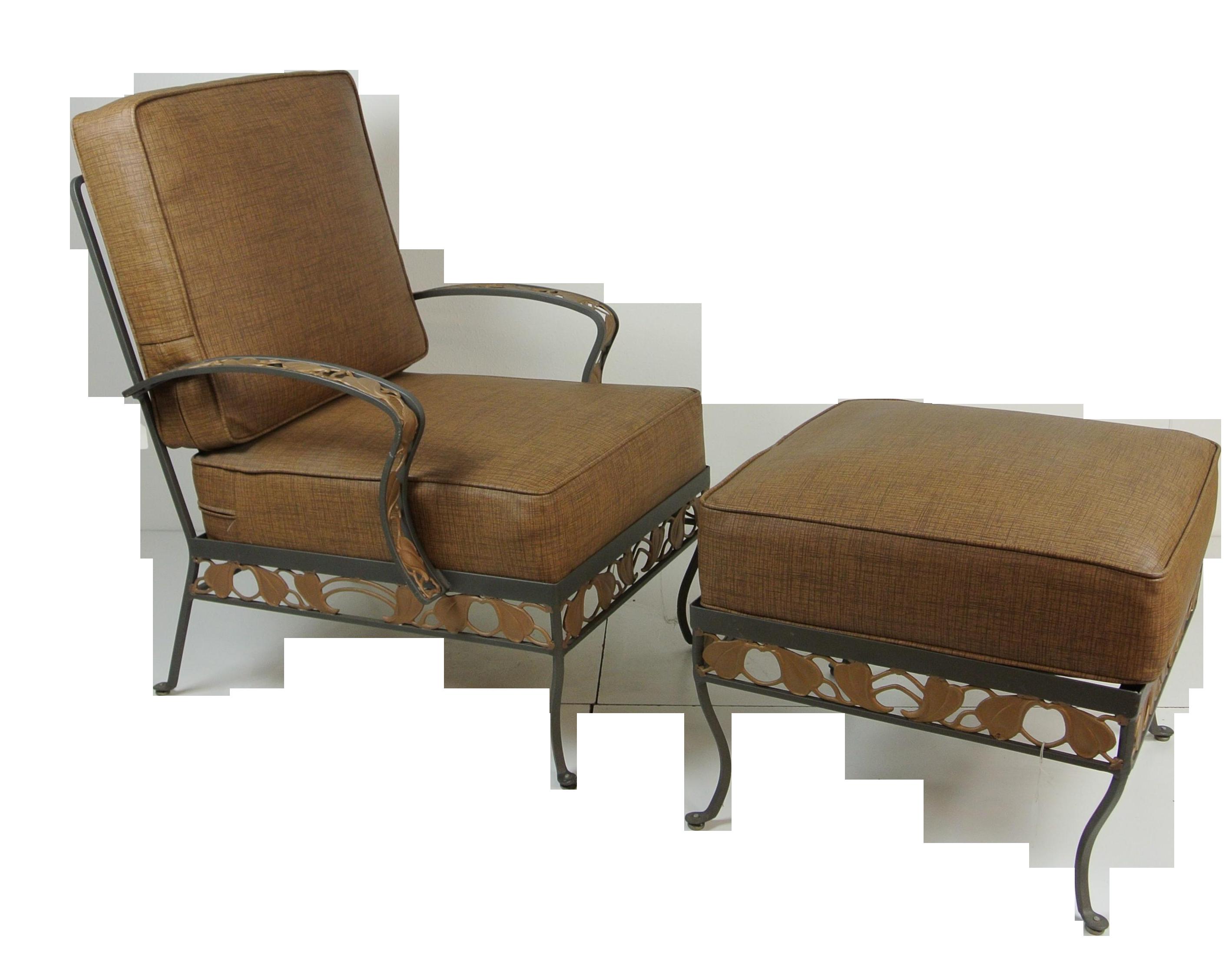 Brown Jordan Wrought Iron Club Chair  Ottoman Chairish - Jordan outdoor furniture