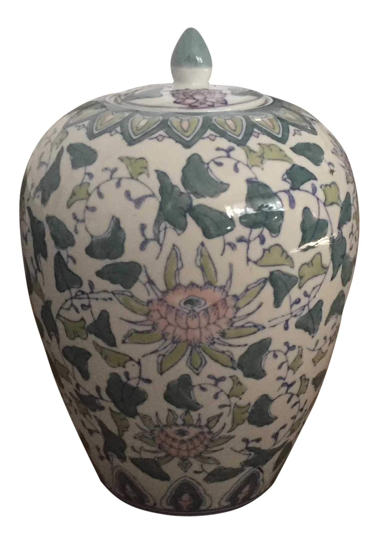 Chinoiserie Asian Pink Amp Green Floral Ginger Jar Chairish