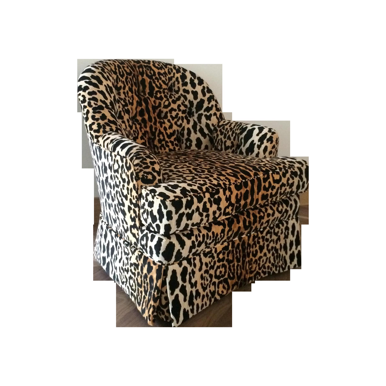 tufted leopard print velvet club chair chairish