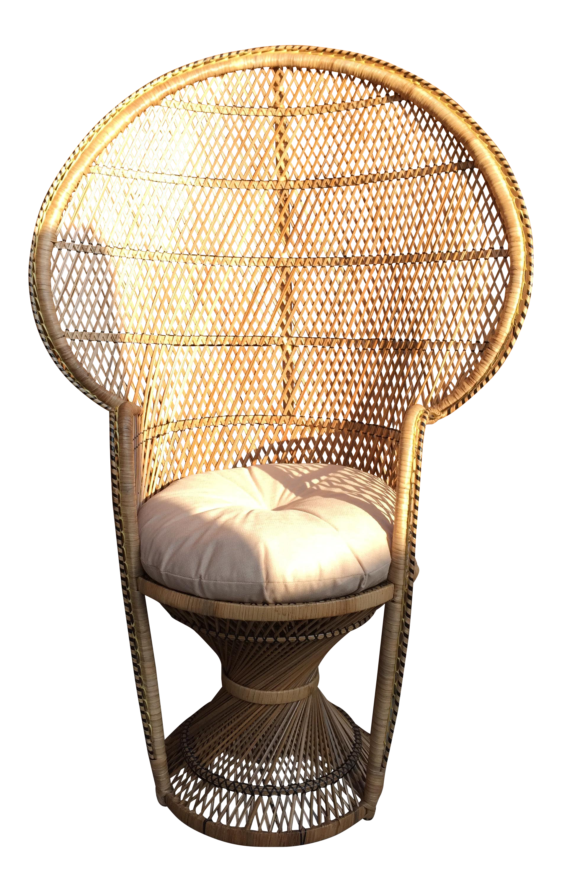 Vintage Wicker Peacock Accent Chair