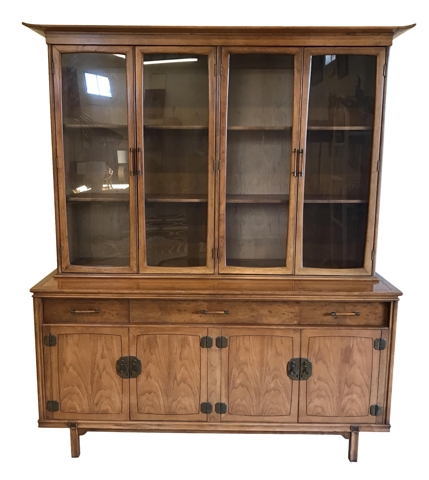 Hutch Display Cabinet Thomasville Walnut Asian Style China Cabinet Hutch Credenza Chairish