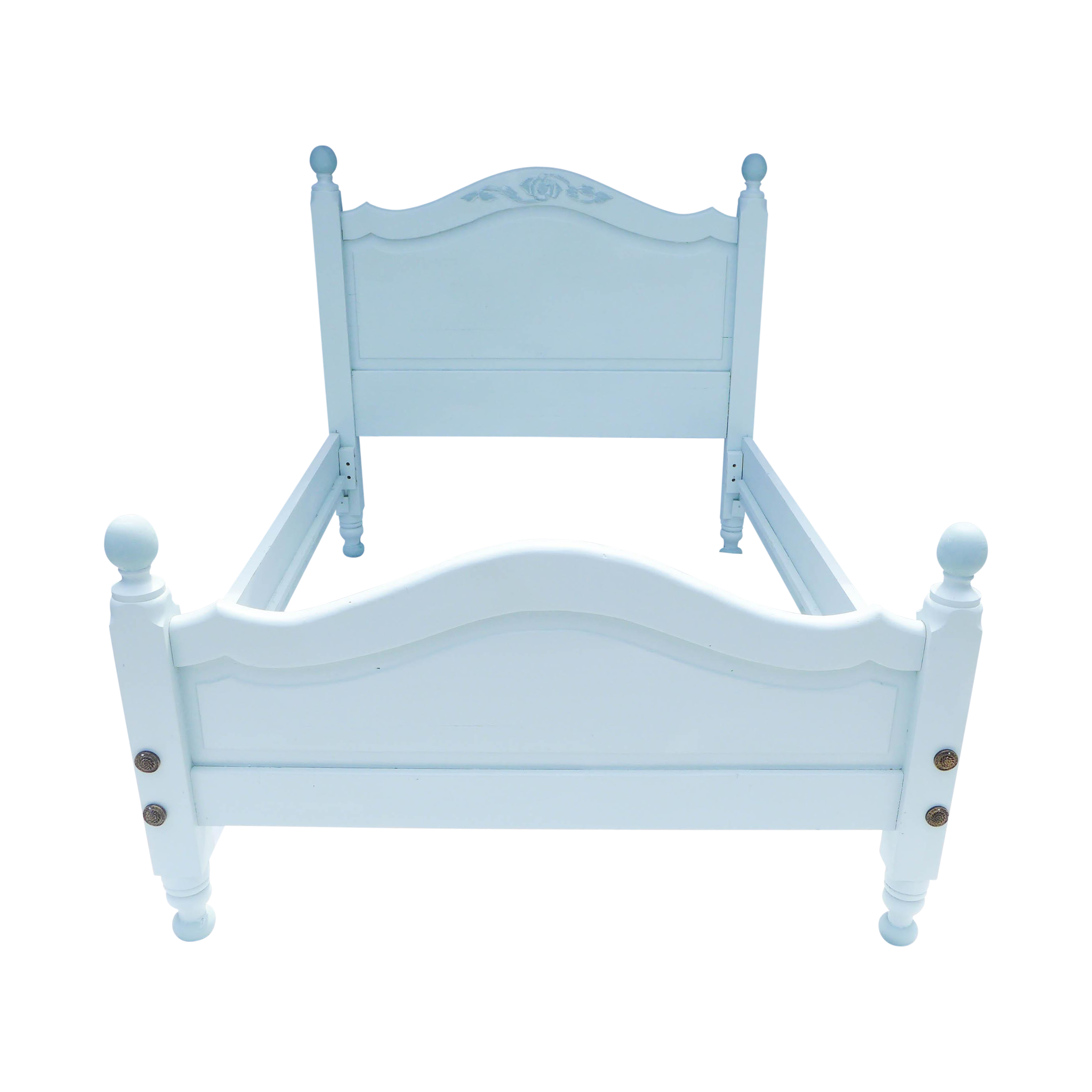 wide board pine painted cottage full size bedframe chairish. Black Bedroom Furniture Sets. Home Design Ideas