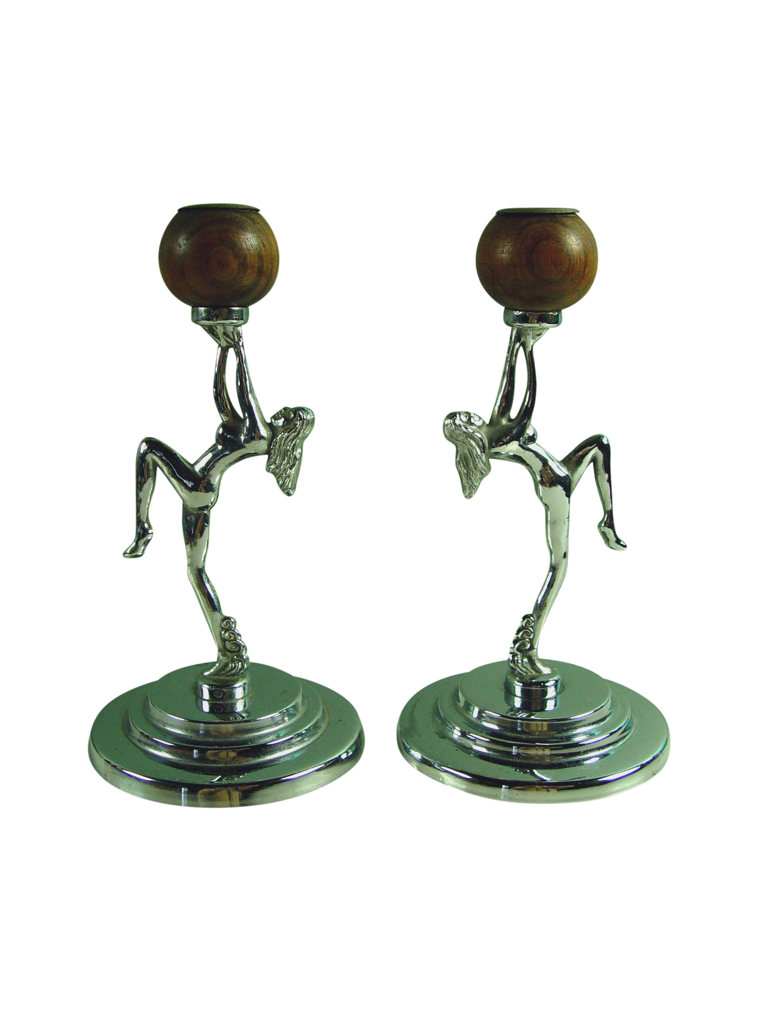 Antique Deco Chrome Nude Candleholders A Pair Chairish