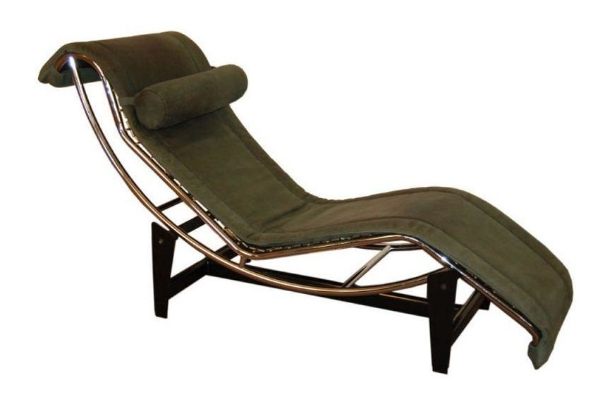 Le corbusier lc4 green leather chaise longue chairish for Chaise longue le corbusier prix