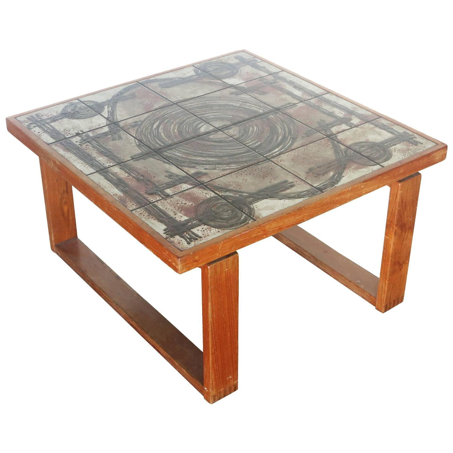 Tile top coffee table with teak base by ox art chairish geotapseo Choice Image