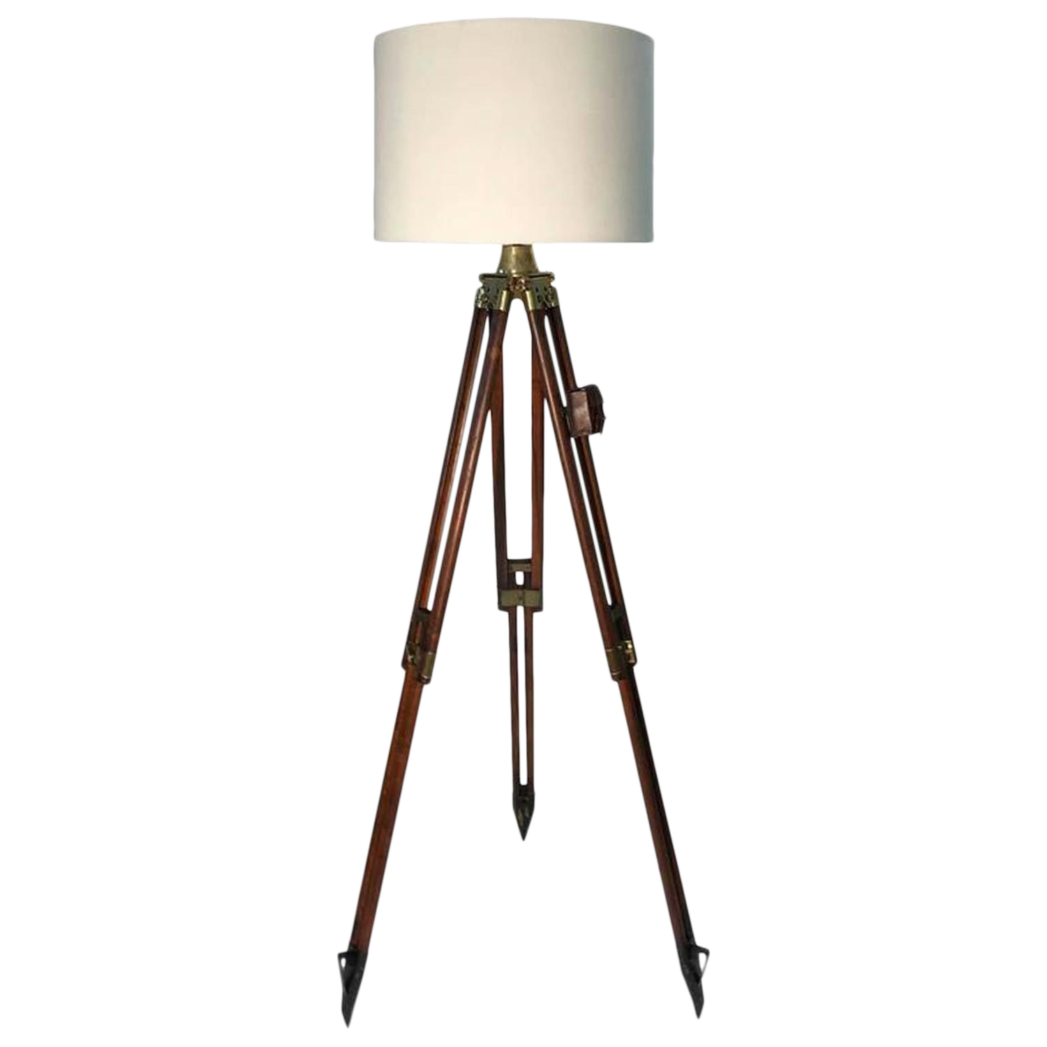 1940s vintage swiss surveyor tripod floor lamp chairish for Surveyors floor lamp wood