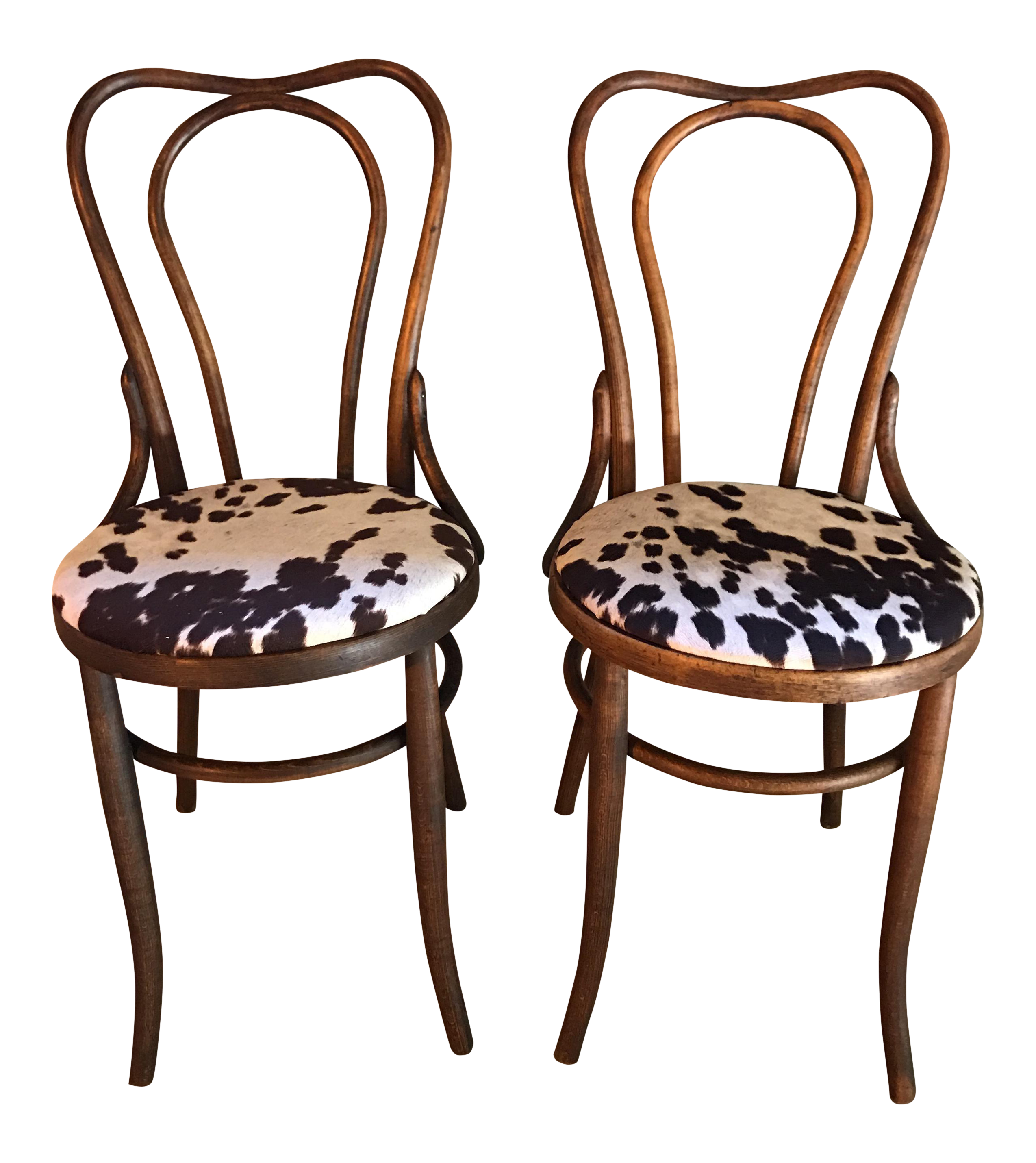 Antique Thonet Style Bentwood Cowhide Chairs A Pair