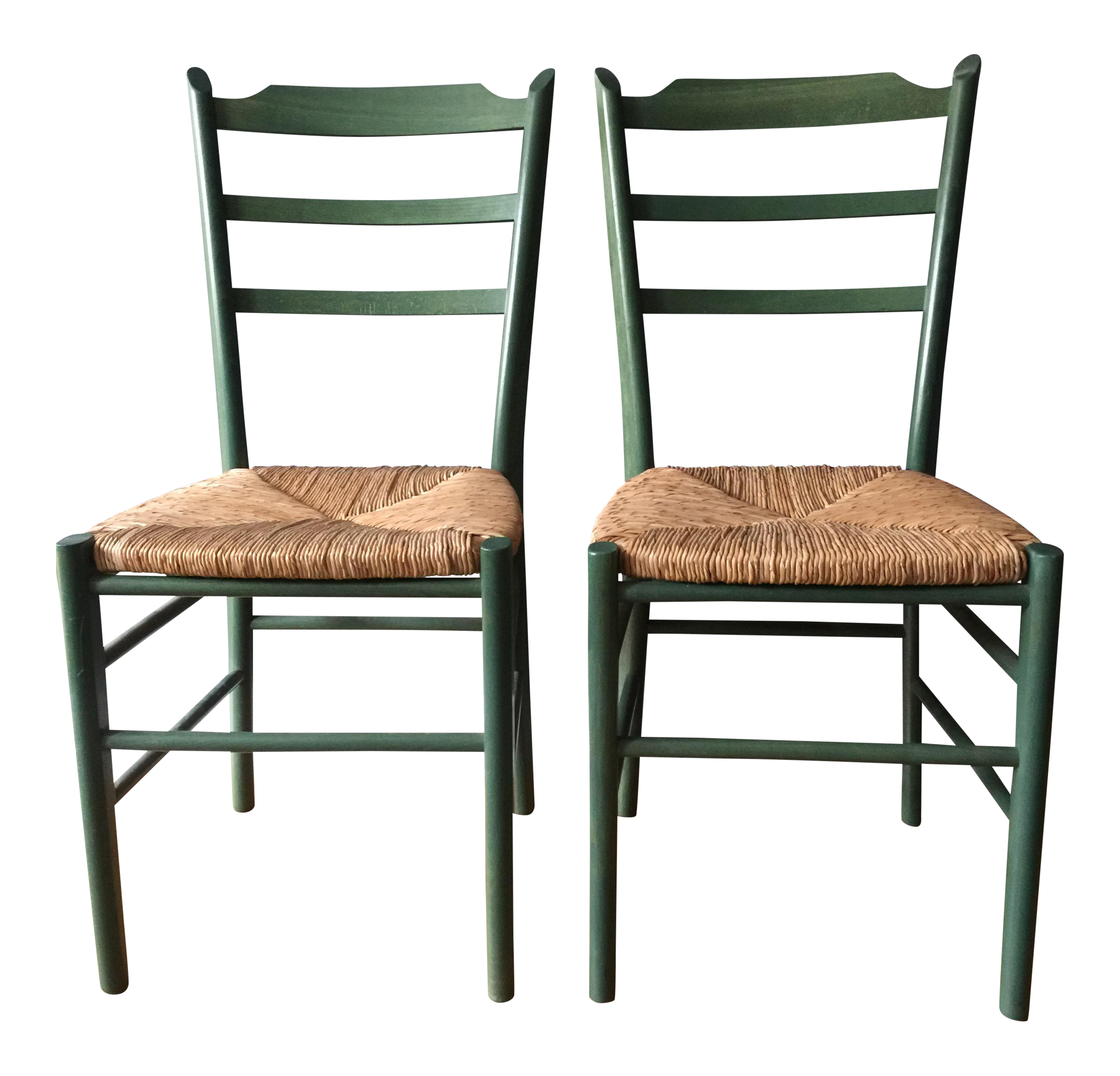 Green Shaker Style Chairs A Pair