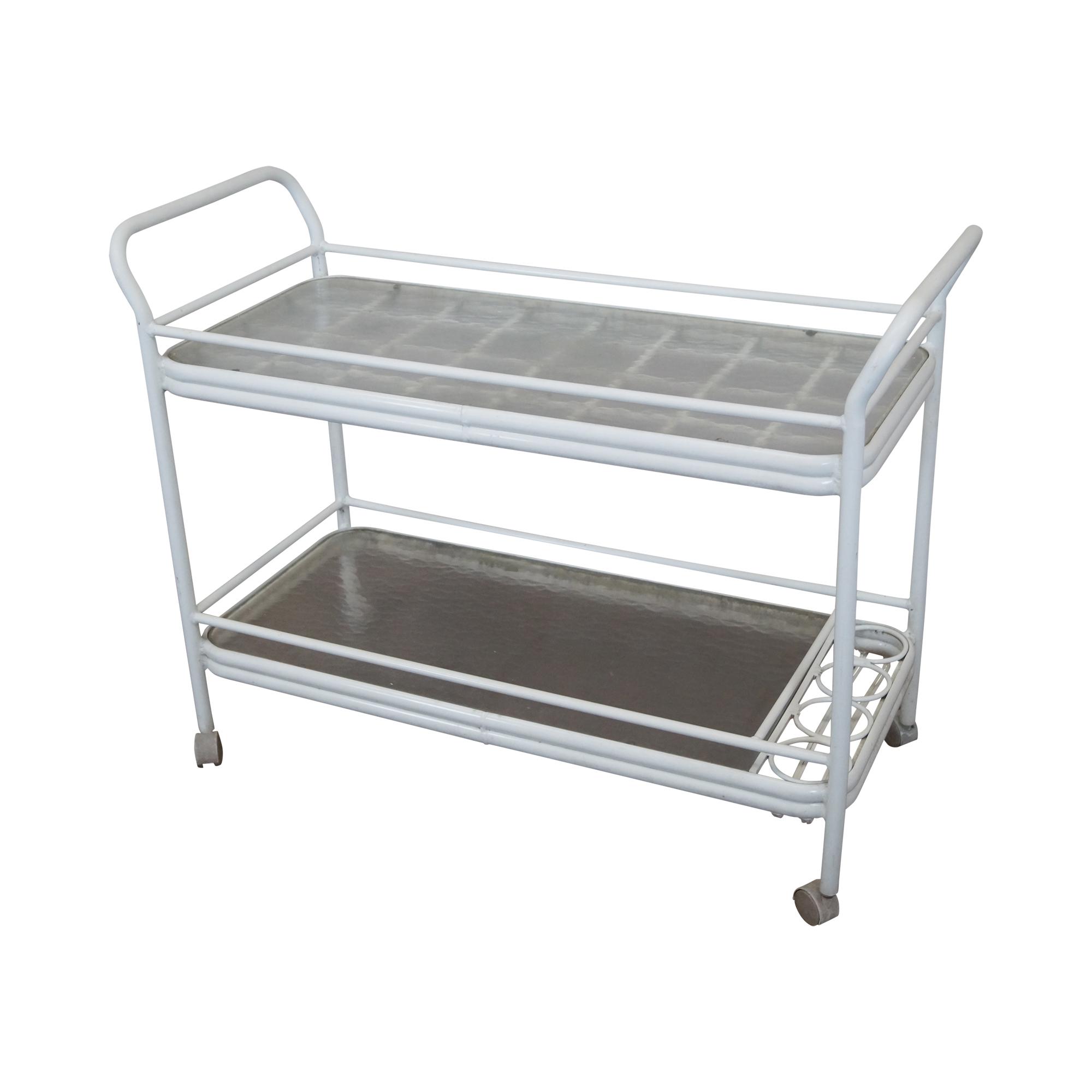 Image Of Mid Century Aluminum U0026 Glass Top Patio Bar Cart