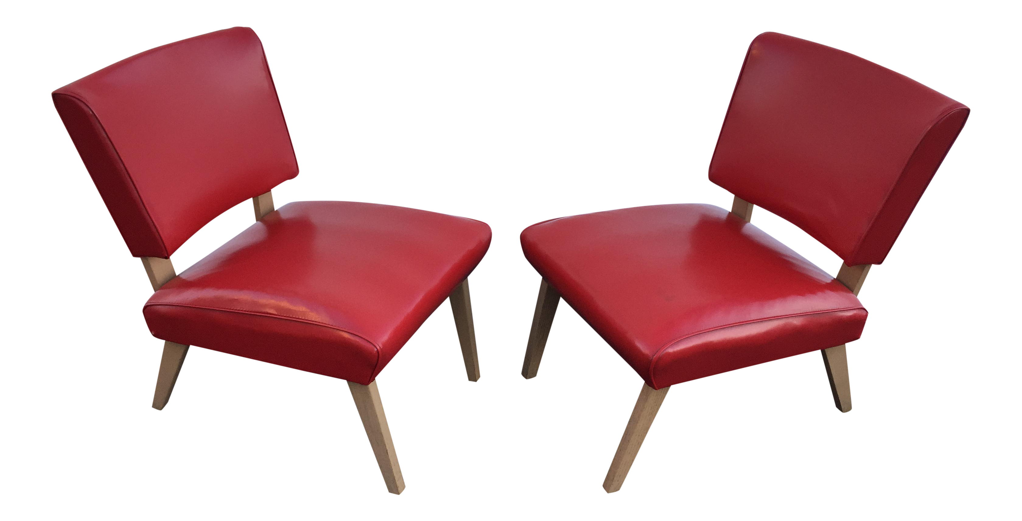 Mid Century Viking Artline Red Vinyl Slipper Chairs A Pair