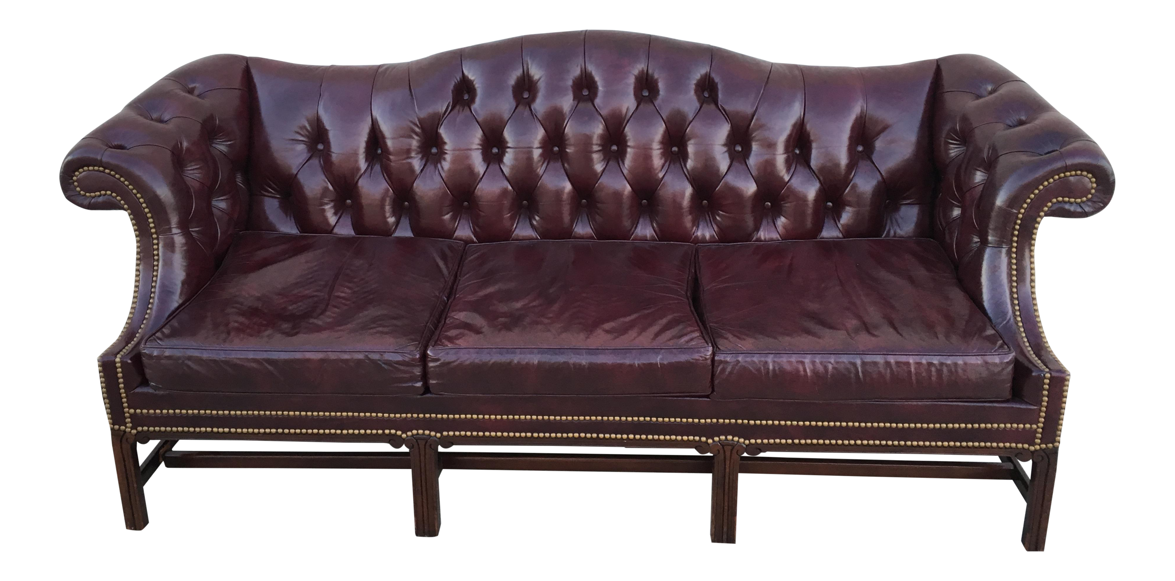 Hancock and Moore Camelback Burgundy Leather Sofa