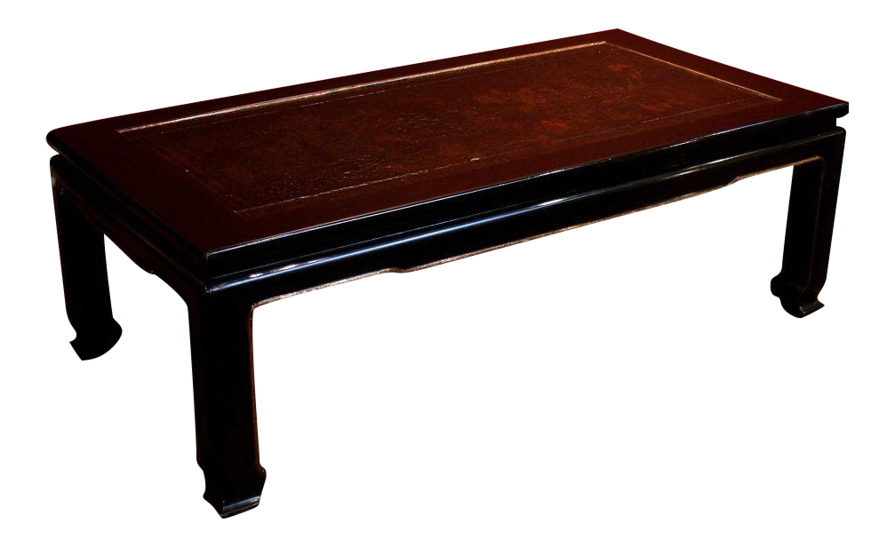 Image of A French Chinoiserie Black Lacquer Coffee Table - Incredible A French Chinoiserie Black Lacquer Coffee Table DECASO