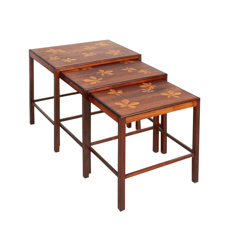 Image Of Mid Century Nesting Tables With Inlay